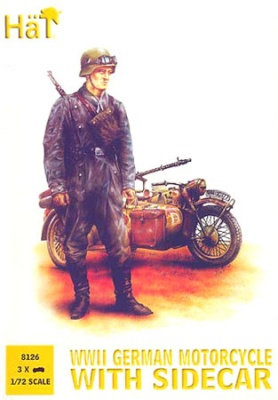 8126 German (WWII) Motorcycles with side cars WWII. 3 bikes, 9 riders and 6 standing figures.