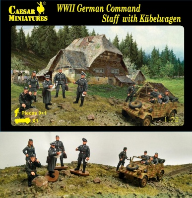 H095 German Command Staff with Kubelwagen