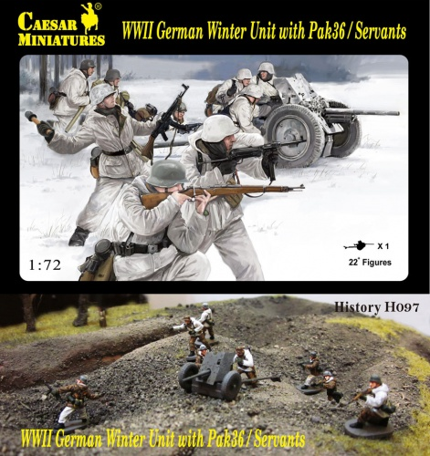H097 WWII German Winter Unit with Pak36 / Servants